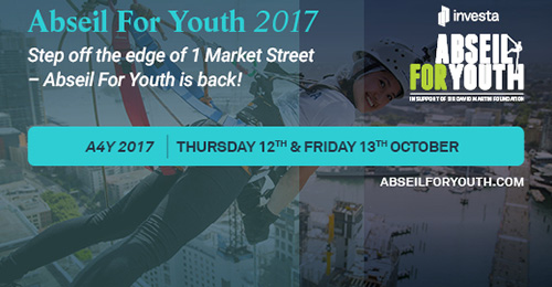 Abseil For Youth 2017 is back at 1 Market St Sydney on 12th & 13th of October!