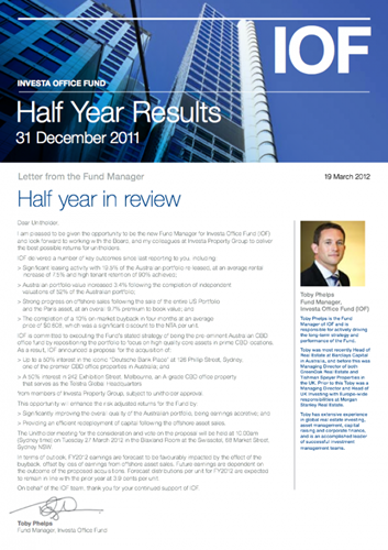 IOF Half Yearly Results 2012